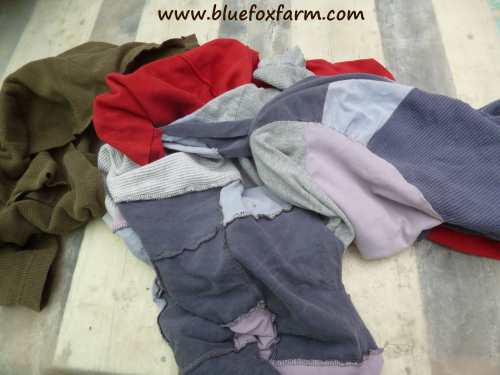 Fabric in the form of old t-shirts salvaged from other craft projects