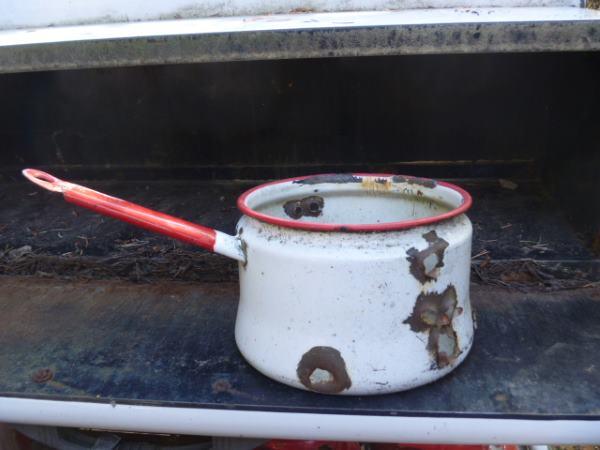 Enamel Pot with bullet holes