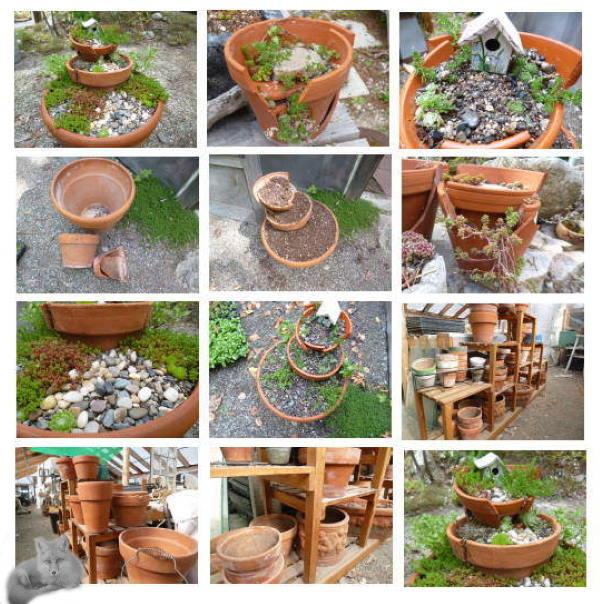 Clay Pot Fairy Garden Collage