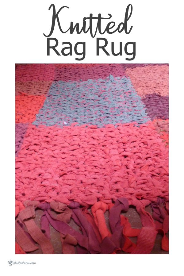 Knitted Rag Rug - country style rustic decor