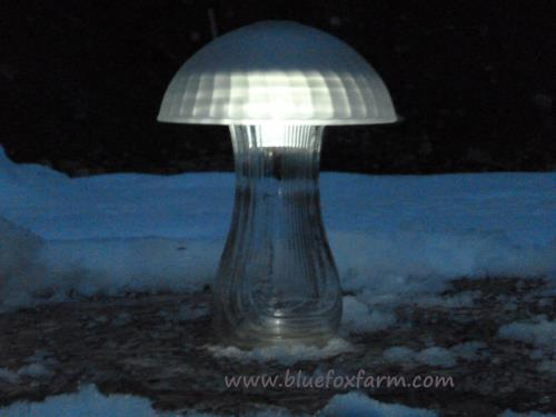 Mushroom Solar Light made from dishes and vases