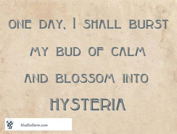 One day I shall burst my bud of calm and blossom into hysteria (or Wisteria)