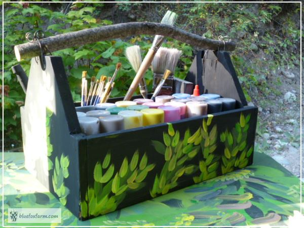 Painted Trug for Storing Craft Paints