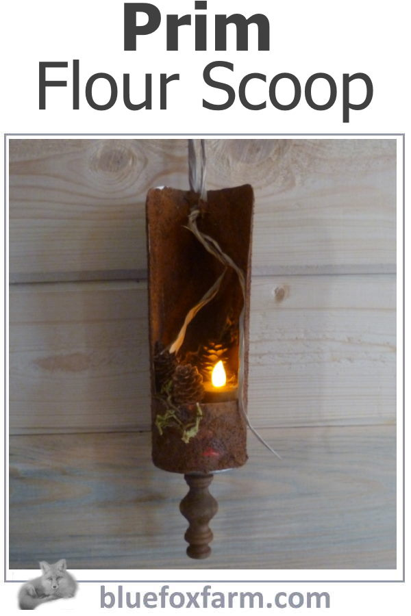 Prim Flour Scoop - love that country and rusty look!