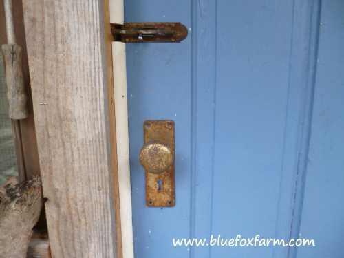Vintage Hardware on the Eggporeum door