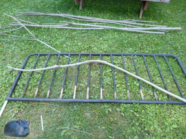 getting ready to build the rustic twig gate