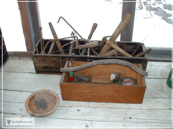 Simple Wooden Box transforms into spectacular Rustic Tool Caddy with a Twig Handle