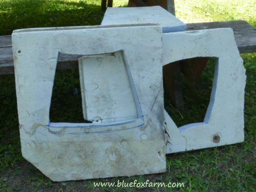 Styrofoam blueboard cut into forms