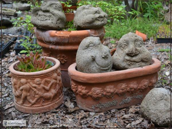 Terracotta Clay Pots molded with a relief pattern