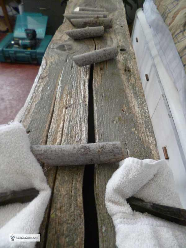Preparing the barnboard and the twig hooks