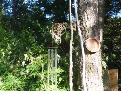 Wind Chime Hanger made from a school  bench support